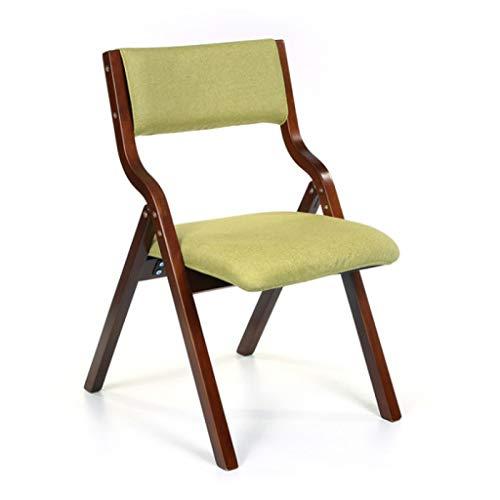 Chaise de loisirs Chaise de salle à manger Chaise de bureau Chaise de dossier Restaurant Créative Chaise pliante en bois Toile de jute (Couleur : Green)