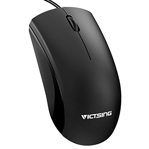 VicTsing Computermaus, Wired Mouse,1.7M Kabellängel Laptop Maus, Ergonomische USB Maus, PC Maus Kabel mit 1200 DPI, Plug & Play Schnelle Reaktionkompatibel mit PC, Mac, Desktop und Laptop (schwarz)