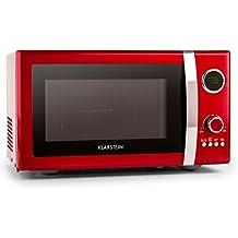 Klarstein Fine Dinesty • microondas 2en1 • microondas con parrilla • 23 l cámara de cocción • 800 W de microondas • 1000 W de parrilla • 12 programas y 3 para descongelar • pantalla LCD • rojo
