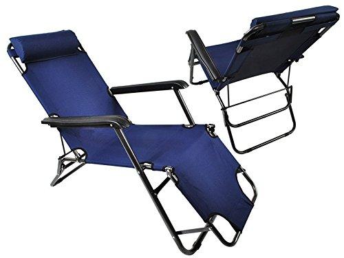 Sonnenliege 4Farben Relaxliege Gartenliege Strandliege Liege Liegestuhl Neu #928, Farbe:Dunkelblau