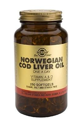 Solgar-Norwegian Cod Liver Oil Softgels (Vit. A & D Supplement) 250