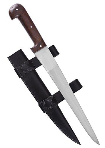 Einfaches Saxmesser mit Lederscheide kurz - Battle Merchant - Wikingerdolch für Erwachsene echt...