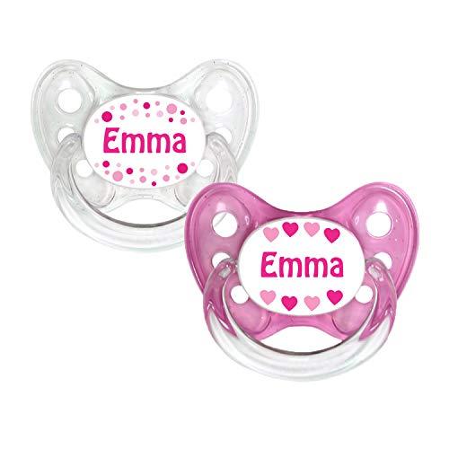 Dentistar® Silikon Schnuller 2er Set inkl. 2 Schutzkappen - Nuckel Größe 1 von Geburt an, 0-6 Monate - zahnfreundlich und kiefergerecht | Emma -