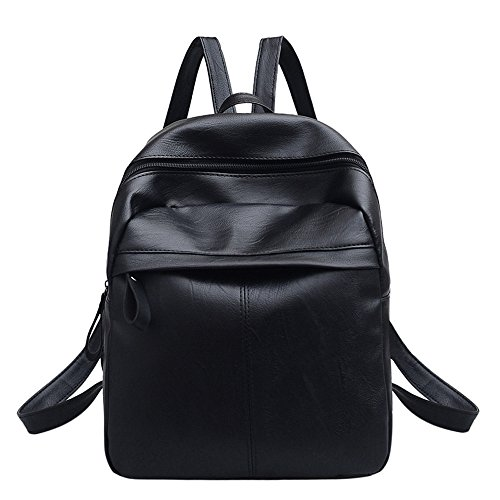 Damen Leder Vintage Solid Zipper Rucksack Soft Griff Satchel Travel School Rucksack Tasche Schwarz # ZS 26x12x31cm schwarz -