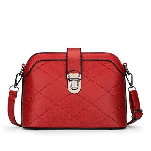 HQYSS Damen-handtaschen Leichte PU-lederne Schulter-Kurier-Beutel-feste Farben-Frauen-Crossbody justierbare Shell-Beutel wine red