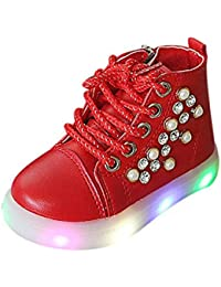 Longra® Children Light Shoes,Kids Boys Girls Pearl Crystal Led Light Luminous Running Sport Boots Shoes for 1-6Years