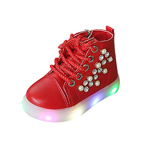 Cinnamou Baby Boots,Unisex Kids Baby Girls Boys Pearl Crystal Led Light Luminous Boots Winter Warm Toddler Booties Running Sport Boots Shoes