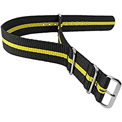 Minott XL Replacement Drawstring Bracelet 24 mm NATO Nylon Strap Available in Different Colours, Colours: Black/Yellow