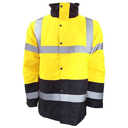 Portwest Herren Hi-Vis Verkehrs-Jacke mit Kontrast-Einsätzen, gut sichtbar, wasserdicht (L) (Gelb/Marineblau) - Wasserdichte Herren Weiße Jacke