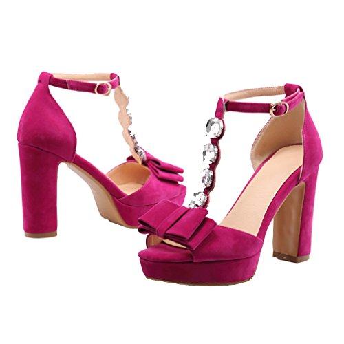 YE Damen Wildleder T-spangen Peep Toe Blockabsatz High Heel Plateau Sandalen mit Schleife und Strass Mode Schuhe Rose