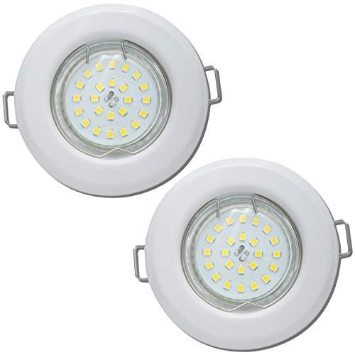2 Stück LED Einbaustrahler Flach 230V 7W SMD LED Modul Einbauleuchten Mia Starr Farbe Weiß 3000K 40mm Einbautiefe -