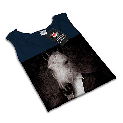 Pferd Anzug Krawatte Cool Komisch Pferd Gesicht Damen S-2XL Muskelshirt |  Wellcoda Marine ...