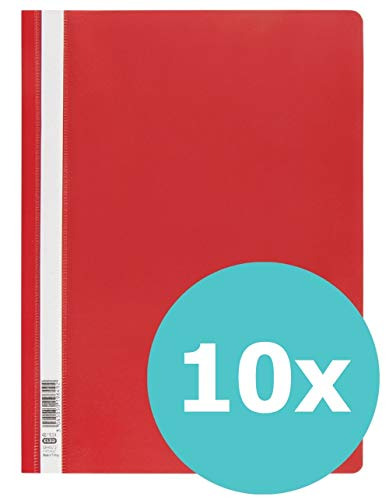 ELBA 400116314 Schnellhefter A4 10er Pack aus Kunststoff für ca. 160 DIN A4-Blätter in  rot