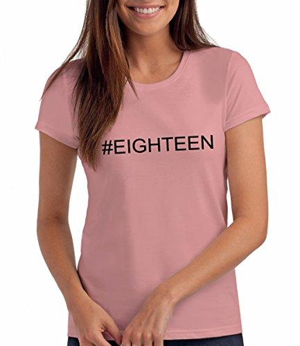 #Eighteen - Hashtag Geschenk T Shirt zum 18. Geburtstag, Damen: Pi, M