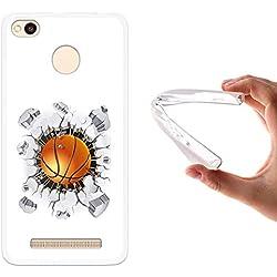 Funda Xiaomi Redmi 3 Pro, WoowCase [ Xiaomi Redmi 3 Pro ] Funda Silicona Gel Flexible Balon de Baloncesto, Carcasa Case TPU Silicona - Transparente