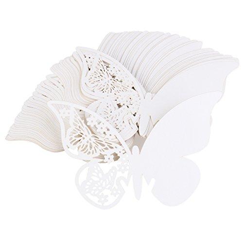 ULTNICE Tarjetas de Nombre Lugar de Invitaciones Mariposa Decoración de Boda - 50 Piezas