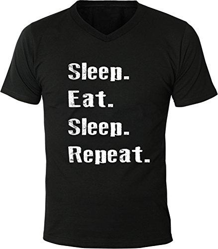 Mister Merchandise Herren Men V-Ausschnitt T-Shirt Sleep Eat Sleep Repeat Tee Shirt Neck bedruckt Schwarz