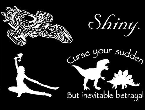 Lyniv Aufkleber Serenity Ship, River Tam, glänzend, Dinosaurier (Firefly inspiriert) weiß
