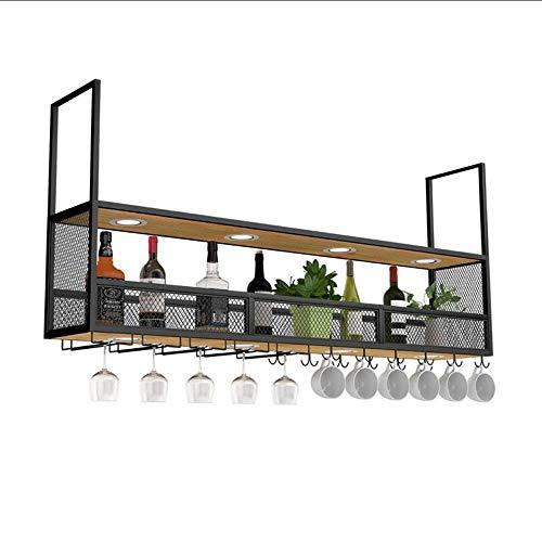 Slivy Schmiedeeisen Black Wall Mounted Hängen Wein-Champagne-Glasbecher Stemware Zahnstangen-Halter-Leuchter-Weinregal, den Kopf gestellt Wein-Schrank Storage Rack, Familie, Bar (Größe : 100cm) -