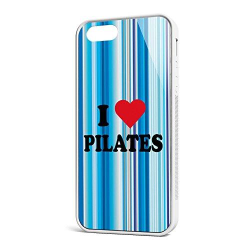 Smartcover Case I love Pilates z.B. für Iphone 5 / 5S, Iphone 6 / 6S, Samsung S6 und S6 EDGE mit griffigem Gummirand und coolem Print, Smartphone Hülle:Samsung S6 EDGE weiss Iphone 5 / 5S weiss