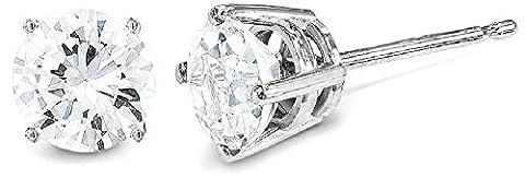 IceCarats 14k White Gold .05ct I1 J K Diamond Stud Push On Post Ball Button Earrings