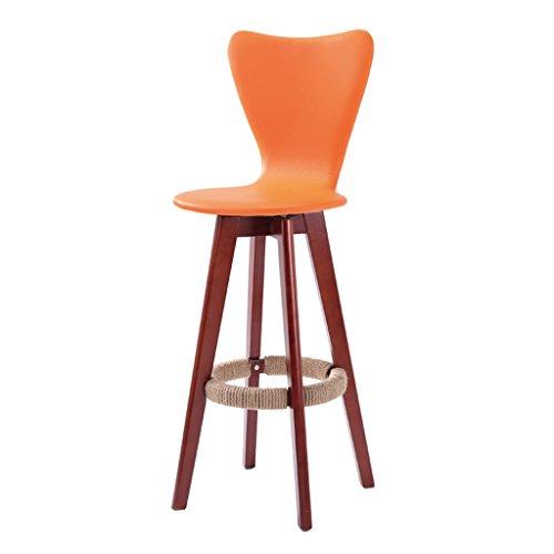 Guo shop- Simple, bois massif, peut être tourné Coussin en cuir artificiel, tabouret foncé Legs Bar Chaise haute Creative Chaise en bois de style européen Vintage Tabouret de bar Hauteur 71cm Bonne chaise