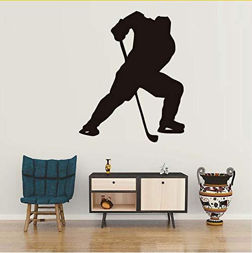 Wuyyii Ein Mann Spielen Eishockey Sport Wandaufkleber Wohnzimmer Wände Decals Erwachsene Wandaufkleber Für Heimtextilien 44X55