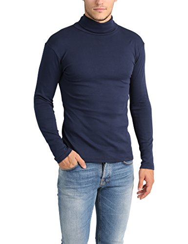 Lower East Herren Slim Fit Rollkragen Shirt, Navy, 3XL (Rollkragen-pullover Herren)