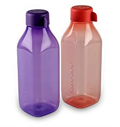 TUPPERWARE 500 ML SQUARE BOTTLE PURPLE AND PINK (SET OF 2)