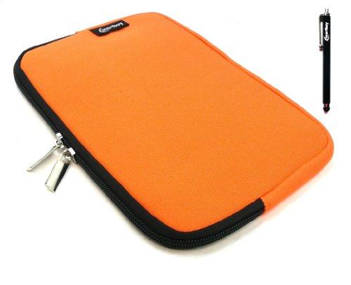 Emartbuy® Schwarz Stylus + Orange Wasser Resistant Neoprene Weich Zip Case Cover Tasche Hülle Sleeve Für I.onik TP - 1200QC 7.85 Inch Tablet (8 -Zoll-Tablet)