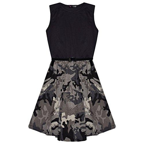 A2Z 4 Kids® Mädchen Skater Kleid Kinder Designer Camouflage Kontrast - Skater Dress Camo Panel Charcoal 13 (Kleid Mädchen Einfach)