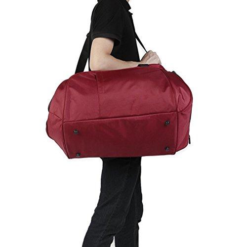 Portable sport palestra fitness borsa borsone viaggio grande borsa della borsa, Uomo, Black Red