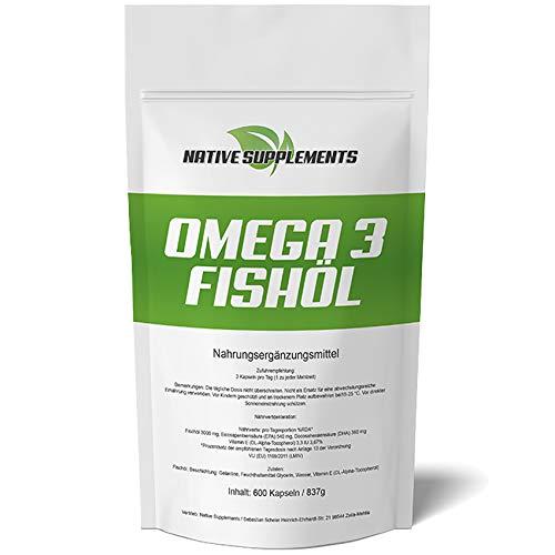 600 Kapseln Omega 3 Fischöl, 1000mg pro Softgelkapsel, mit EPA + DHA + Vitamin E - 100% Geld zurück Garantie, Unterstützend beim Muskelaufbau und zur Fettverbrennung