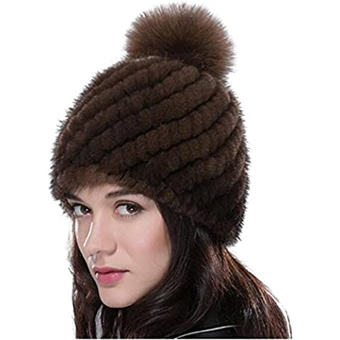 gegefur Donna Maglia Reale Visone pelliccia cappello San Valentino Fox