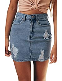 URSING Damen Denim Jeans Einfarbig Beiläufig Loch Jeansskirt Jeansrock  Kurzer Rock mit Knopf Damenrock… 5fd5eb6811
