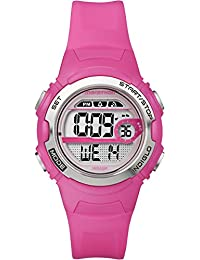 Timex Marathon Women's T5K771 Watch with Grey Dial Digital Display and Pink Resin Strap