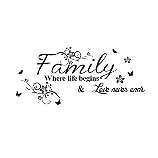 WINOMO English Proverb Series Family Where Life Begins & Love Never Ends Removable Vinyl Wall Art Decals Wall Saying Lettering Quotes Decal Stickers Uplifting Decor for Living Room/Bedrooms/Dinning Ro