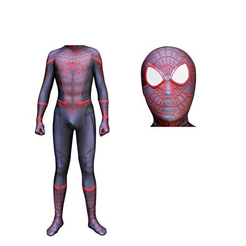 Herren Erwachsene/Kinder Jungen Halloween Spiderman Cosplay Kostüme Lycra Zentai Super Hero Kostüm Ganzkörperanzug Full Size,Detachable-XL (Halloween-super Kostüme Hero)