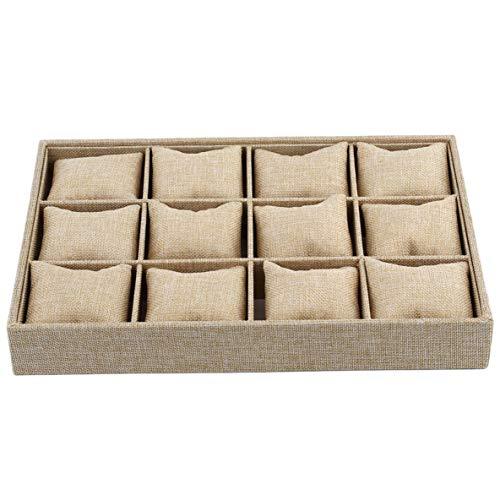 Noradtjcca 12 Slots Kissen Stil Schmuck Uhr Armband Display Tray Box Halskette Ohrring Container Boxen Fall Schmuck Veranstalter Geschenk Display Tray Fall