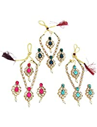 Shree Mauli Creation Multi Colour Alloy Special Combo Offer Of White Drop Necklace Set For Women SMCC80