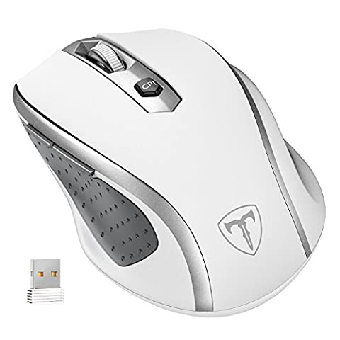 Wireless Mouse, [Updated Version] VicTsing 2.4G Wireless Optical USB Laptop PC Mouse Computer with 6 Buttons, 2400 DPI 5 Adjust Levels, Nano Receiver Extra Long Range for Mac Windows Macbook Linux - Ultra Energy Saving, White