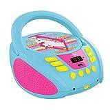 Lexibook Radio lecteur CD Licorne Unicorn,  Entrée line-in, port USB Pile ou Secteur, Bleu/Rose, RCD108UNI_10