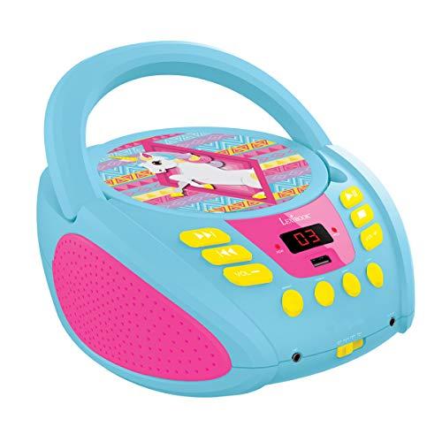 Player Einhorn Unicorn, AUX-Eingangsbuchse, USB-port, AC-Betrieb oder Batterie, Blau/Pink, RCD108UNI_10 ()