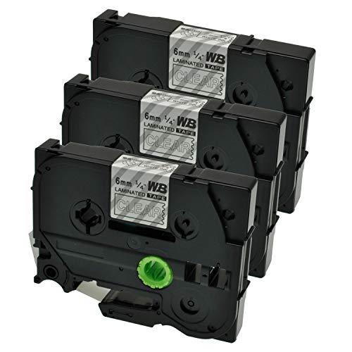 Logic-Seek 3 Schriftbänder kompatibel für Brother TZE-115 P-Touch 1000 1010 1080 1090 1200 1200P 1230PC 1250 1280 1290 1750 1800 1850 200 220 2400 2450 2460 2470, 6mm/8m - Weiß auf Transparent