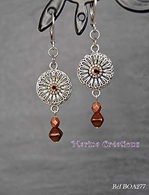 Boucles d'oreilles minimalistes crochets dormeuses acier inoxydable, cristal Swarovski rose gold, perles verre marron et cuivré, bijou fin discret léger, idée cadeau