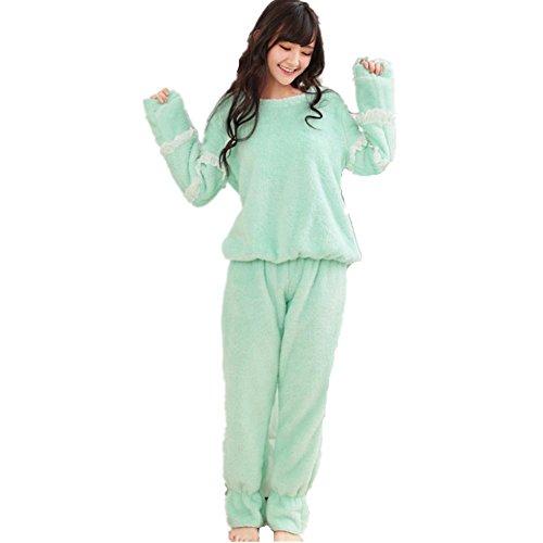 DMMSS Lady verdicken Coral Fleece-Bademantel-s¨¹?e Langarm-Pyjama-set Green