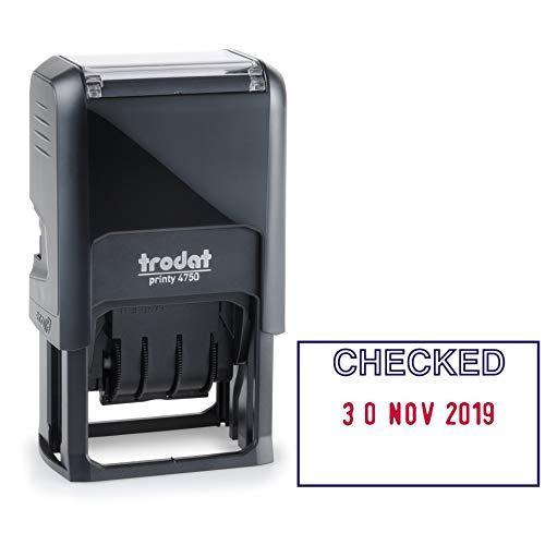 Trodat Eco 54293-Timbro autoinchiostrante con parola in lingua inglese'Checked''e data, 40 x 24 mm, rosso/blu, lingua inglese