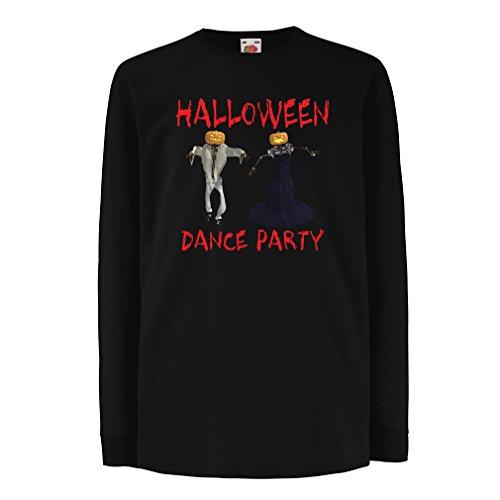 Kinder-T-Shirt mit Langen Ärmeln Coole Outfits Halloween Tanz Party Veranstaltungen Kostümideen (12-13 Years Schwarz Mehrfarben)