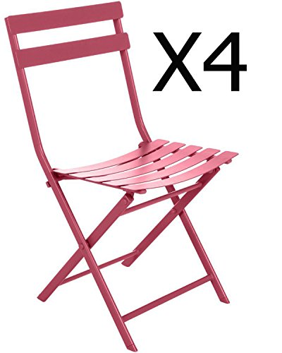 Lot de 4 chaises pliantes en acier coloris Cerise - Dim : L52 x l42 x H80 cm -PEGANE-