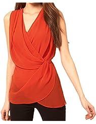 Streetwear Estilo Escote Pronunciado en V Girada Ceñido Envolvente Chifón Camiseta Sin Mangas Blusón Blusa Tank Top
